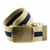 Premium Striped Cotton Fabric Belt 1. 5 Inch Wide - Khaki / Navy