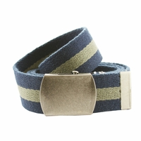 Premium Striped Cotton Fabric Belt 1. 5 Inch Wide - Navy / Olive