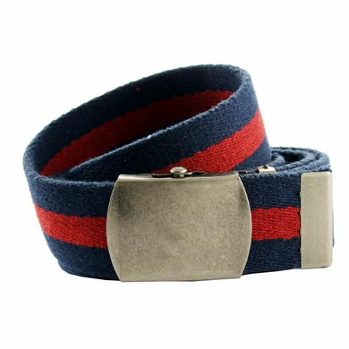 Premium Striped Cotton Fabric Belt 1. 5 Inch Wide - Navy / Red