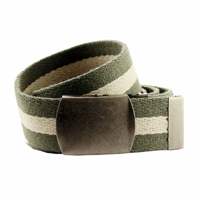 Premium Striped Cotton Fabric Belt 1. 5 Inch Wide - Olive / Khaki