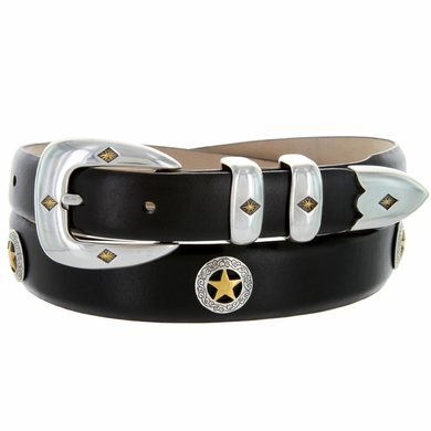 Presidential Gold Star Conchos Leather Dress Concho Belt