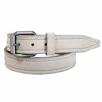 "Remo Tulliani Suede Leather Dress Belt 1-1/4"" Wide Made in USA - Beige"