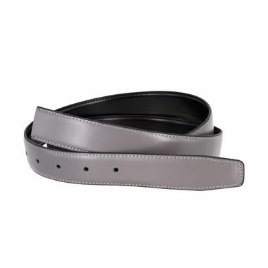 "Reversible Belt Strap Genuine Leather Grey/Black 1-1/8"" (30mm) Wide"