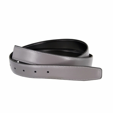 "Reversible Belt Strap Genuine Leather Grey/Black 1-3/8"" (35mm) Wide"