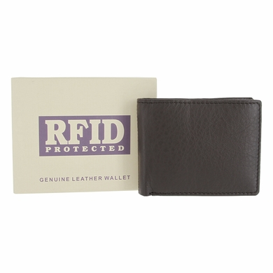 RFID PROTECTED Genuine Leather Bifold Wallet - Dark Brown