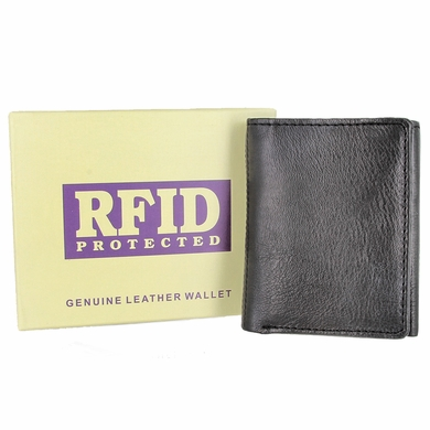 RFID Protected Genuine Leather Trifold Wallet - Black