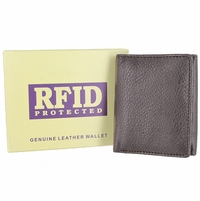 RFID Protected Genuine Leather Trifold Wallet - Burgundy