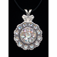 Rhinestone Crystal AB Flower Engraved Concho Necklace