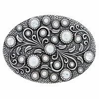 Rhinestone Flower Engraved Belt Buckle HA0860