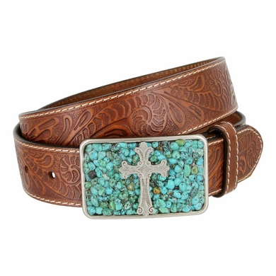 River Turquoise Inlaid Cross Buckle Belt