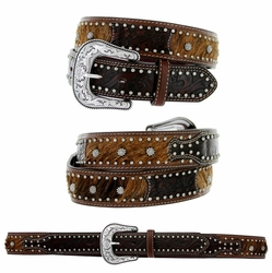 8572500 Roper Western Bridle Cowhair Hand-tooled Floral Leather Belt - Brown