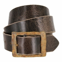 "Rustic Buckle Vintage Leather Belt 1-1/2"" Wide"