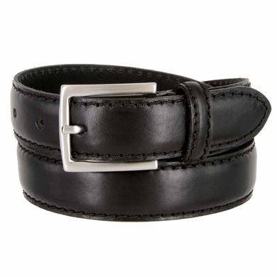 """S029/30 Men's Italian Leather Dress Casual Belt 1-1/8"""" Wide Made in Italy - Nero (Black)"""