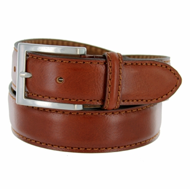 "S029/35 Men's Italian Leather Dress Casual Belt 1-3/8"" Wide Made in Italy - Marrone (Tan)"