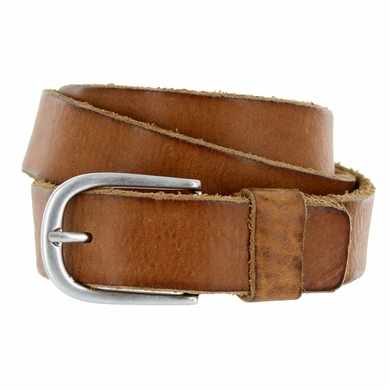 E033 Men's Italian Full Leather Dress Casual Belt Made in Italy - Marrone(Brown)