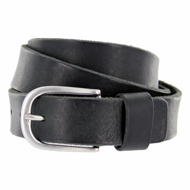 E033 Men's Italian Full Leather Dress Casual Belt Made in Italy - Nero (Black)