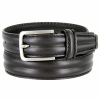 "S067/30 Men's Italian Leather Dress Casual Belt 1-1/8"" Wide Made in Italy - Nero (Black)"
