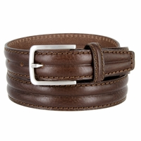 "S067/30 Men's Italian Leather Dress Casual Belt 1-1/8"" Wide Made in Italy - T. Moro (Dark Brown)"