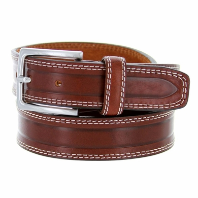 "S074/35 Men's Italian Leather Dress Casual Belt 1-3/8"" Wide Made in Italy - Marrone (Brown)"