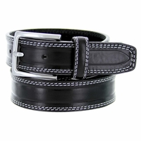 "S074/35 Men's Italian Leather Dress Casual Belt 1-3/8"" Wide Made in Italy - Nero (Black)"