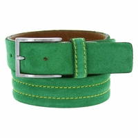 S110 Men's Italian Suede Leather Dress Casual Belt Made in Italy - Verde(Green)