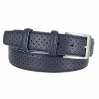 "S198/35 Men's Italian Leather Casual Dress Belt 1-3/8"" Wide Made in Italy - Blue"