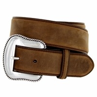 """S5733 Antique Silver Engraved Western Buckle Genuine Leather Belt 1-1/2"""" Brown"""