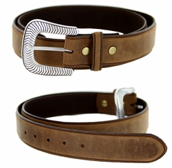 "S8131 Antique Silver Engraved Western Buckle Genuine Leather Belt 1-1/2"" Brown"