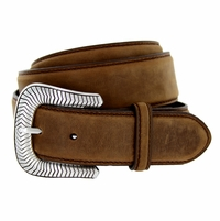 """S8131 Antique Silver Engraved Western Buckle Genuine Leather Belt 1-1/2"""" Brown"""