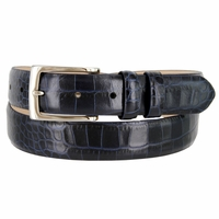 "SB Men's Italian Alligator embossed Calfskin Leather Dress Belt 1-1/8"" Wide"