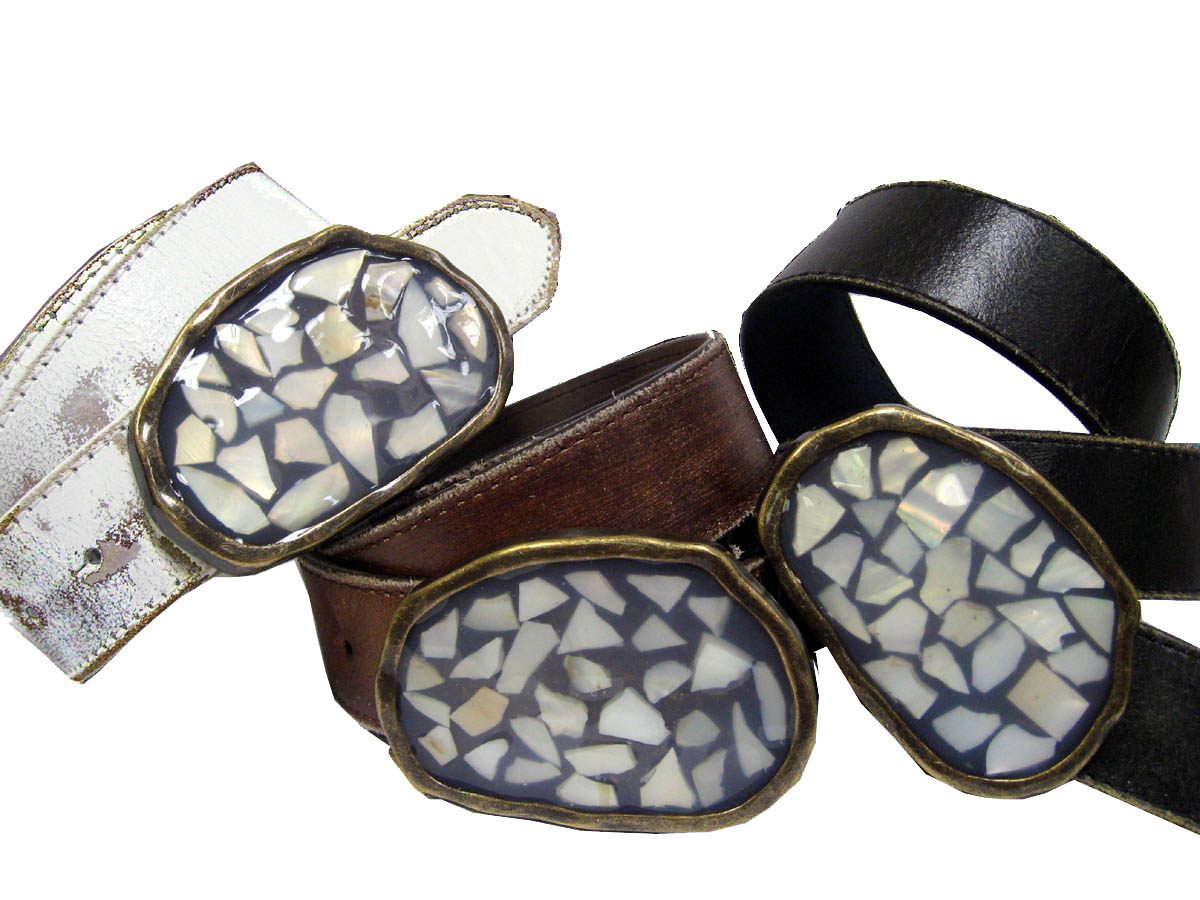 seashell vintage cool leather belt