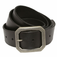 Seattle Men's Full Grain Leather Casual Jean Belt W/ Solid Brass Buckle-Black