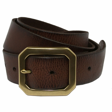 Seattle Men's Full Grain Leather Casual Jean Belt with Solid Brass Buckle
