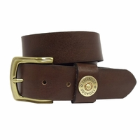 Shotshell Men's Leather Casual Belt- Brown