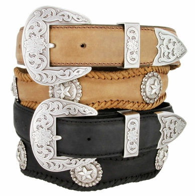 Silver Abilene Men's Western Cowhide Leather Star Berry Concho Belts