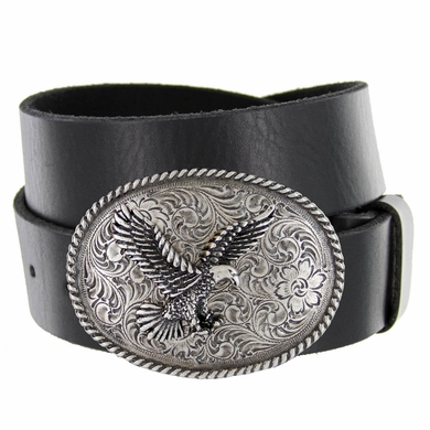 Silver American Eagle Full Grain Leather Casual Belt