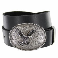 "Silver American Eagle Engraved Buckle Genuine Full Grain Leather Casual Jean Belt 1-1/2""(38mm) Wide"