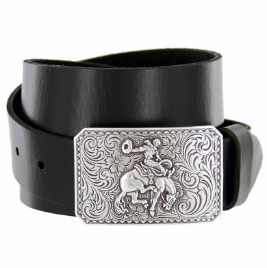 "Western Bronco Rider Floral Engraved Cowboy Buckle Genuine Full Grain Leather Casual Jean Belt 1-1/2""(38mm) Wide"