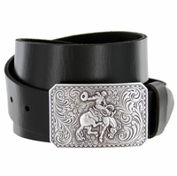 Silver Bronco Rider Cowboy Leather Belt