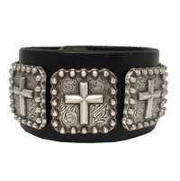 "Silver Cross Berry Conchos Biker Wristband 1 1/2"" Wide"