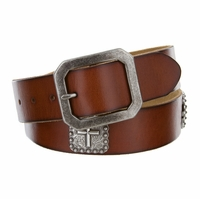 Silver Cross Berry Conchos Men's Full Grain Leather Western Biker Belt