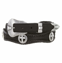 Silver Cross Christian Leather Western Concho Belt