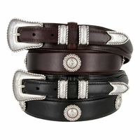 Silver Horse Head Men's Genuine Leather Ranger Belt