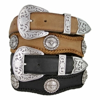 Silver Laredo Longhorn Steer Berry Concho Western Leather Cowboy Belt