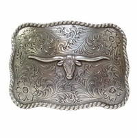 Silver Longhorn Steer Men's Western Trophy Belt Buckle H-8143 LASRP