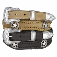 Silver Star Genuine Leather Western Conchos Belt