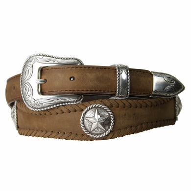 Silver Texan Western Star Concho Leather belt