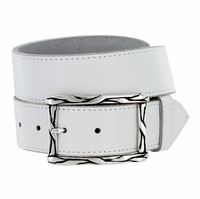 Silver Weave Belt Buckle Casual Jean Leather Belt