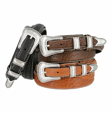 Silver Western Engraved Rope Edge Bison Leather Ranger Belt