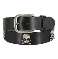 "Skull Conchos Full Grain Leather Belt 1-1/2"" Wide"